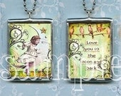 LOVE YOU to the MOON and BaCK soldered GLaSS pendant ALTeRED ArT necklace CHaRM double sided