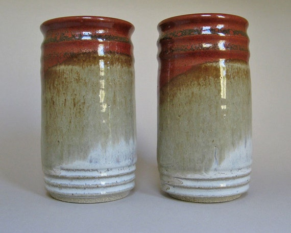 Tall Tumblers - 10 oz. - Pair - Iron Red and Rutile White