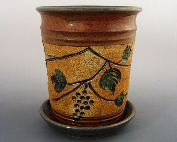 Wine Chiller with Carved Grape Motif / Utensil Holder / Vase - Handmade wheel thrown pottery