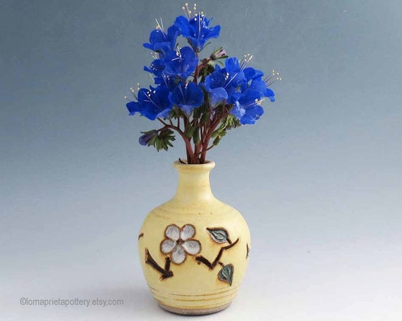 Bud Vase -  Creamy Yellow/ Cherry Blossoms / Handmade Wheel Thrown Pottery / Small Vase