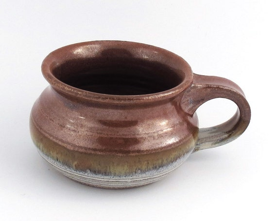 Soup Mug / Soup Bowl 16 oz.- Red, Tan, White /handmade wheel thrown pottery
