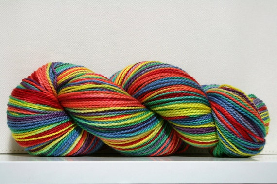hand dyed yarn - High Step Sock - Rainbow Connection colorway