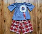 Tartan Culottes and Denim Smock Top SIZE 2 - UPCYCLE