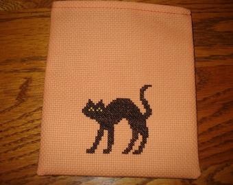 Tiny Trick or Treat or Treasure Gift Bag Orange Black Cat