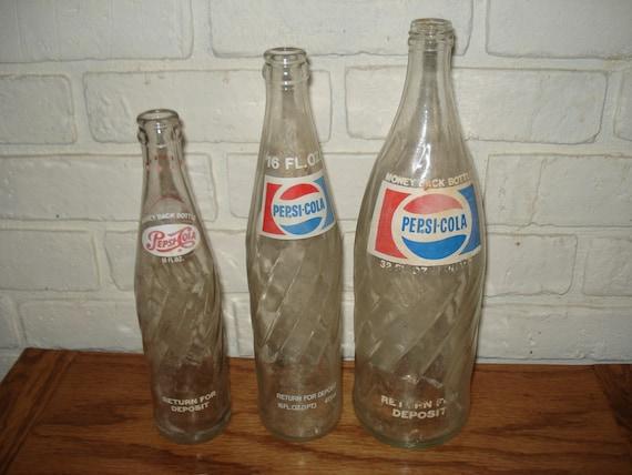 Vintage Glass Pepsi Cola Bottles 32 16 10 Ounces By Cjo785
