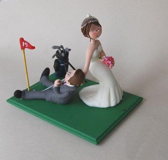 Bride Dragging Groom Golf Cake Topper