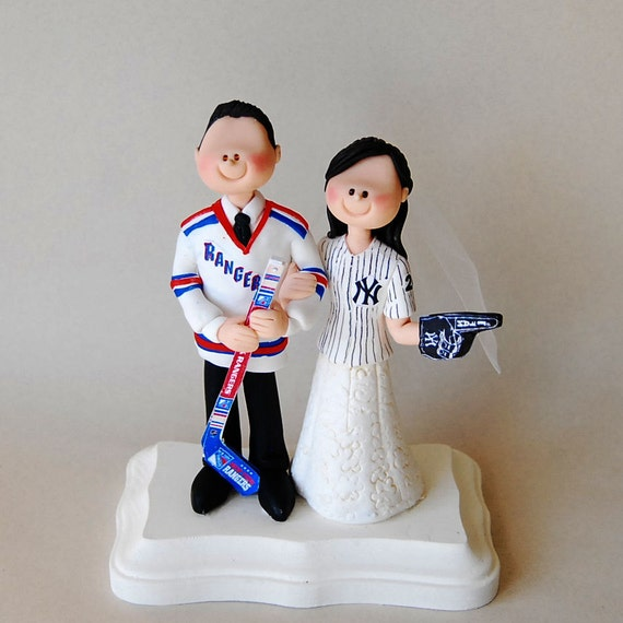 Wedding Cake Topper - NY Rangers and NY Yankees