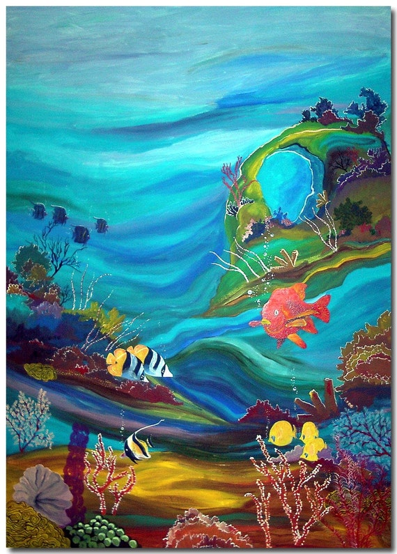 Items similar to custom hand painted aquarium mural wall for Aquarium mural