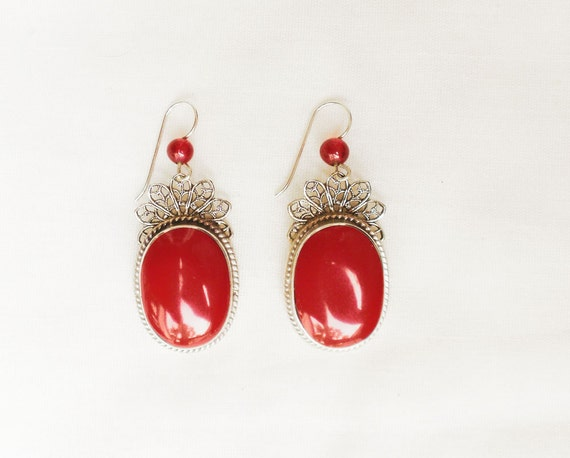 Vintage Sterling Silver Filigree and Red Drop Earrings