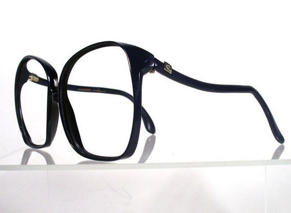 Big Blue Glasses Frames : Vintage 1970s PIERRE CARDIN Big Navy Blue Eyeglass Frames