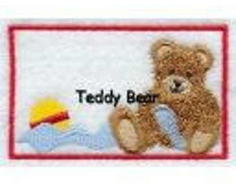 Teddy Bear Quilt Label machine embroidered personalized