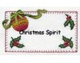 Christmas Spirit Quilt Label machine embroidered personalized