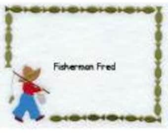 Fisherman Fred Quilt Label machine embroidered personalized