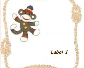 Sock Monkey Quilt Label 1  custom machine embroidery personalized