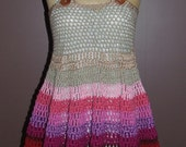crocheted pink and mauve dress  reserved for Melissa