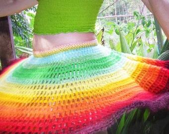 rainbow crocheted midi skirt
