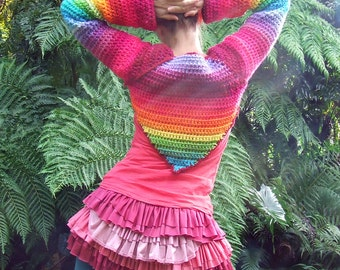 rainbow crocheted bolero shrug sleeves make to order