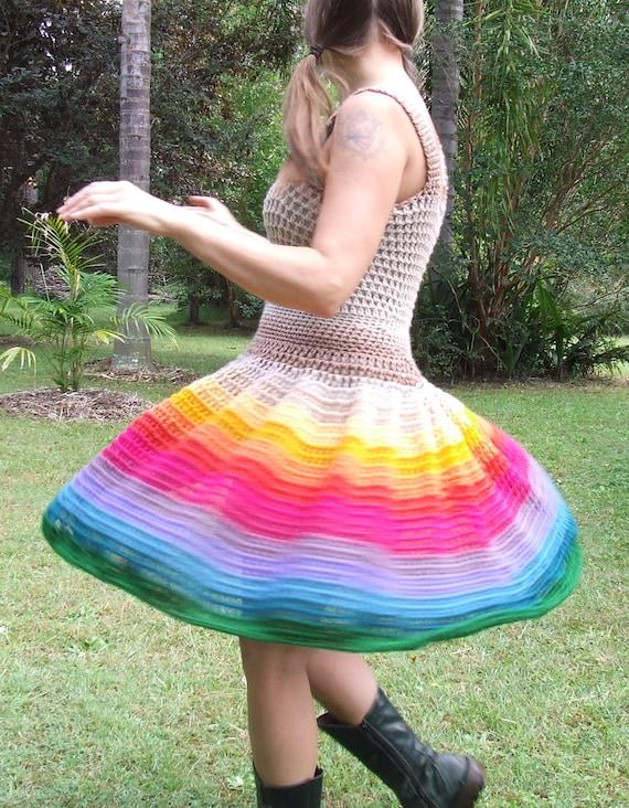 Crocheted rainbow dress reserved for Tatjana