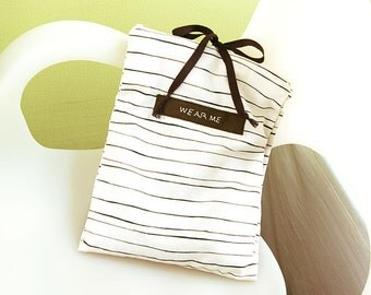Travel Underwear Bag, Striped Cotton Blend Linen