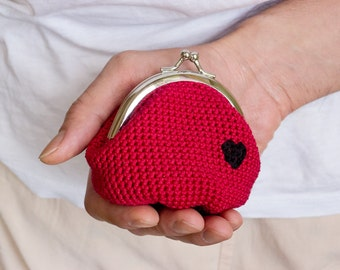 Crochet Coin Purse, Love My Heart, Red