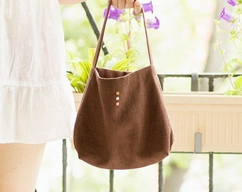 The Minimalist Linen Purse, chocolate brown