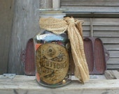RESERVED for Maureen - Primitive Apothecary Jar Filled with Buttons and Antique Sewing Supplies