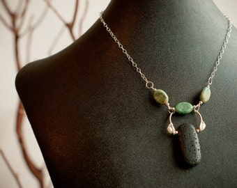 Lava Rock with Chrysocola Necklace, Accented with Freshwater Pearl