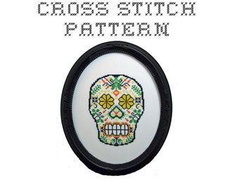 DIY Sugar Skull (version 4) - .pdf Original Cross Stitch Pattern - Instant Download