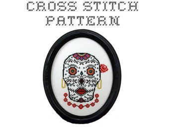 DIY Sugar Skull (version 7) - .pdf Original Cross Stitch Pattern - Instant Download