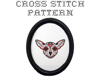 DIY Dog Sugar Skull - .pdf Original Cross Stitch Pattern - Instant Download