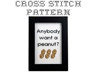 DIY Anybody want a peanut -  .pdf Original Cross Stitch Pattern - Instant Download