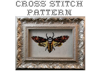 DIY  Death's Head Moth - .pdf Original Cross Stitch Pattern - Instant Download