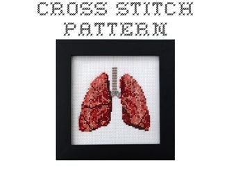 DIY Lungs - .pdf Original Cross Stitch Pattern - Instant Download
