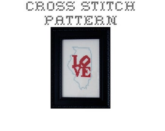 DIY LOVE Illinois  - .pdf Original Cross Stitch Pattern - Instant Download