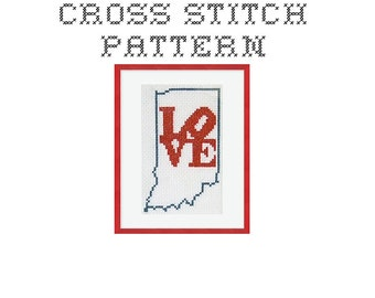 DIY LOVE Indiana - .pdf Original Cross Stitch Pattern - Instant Download