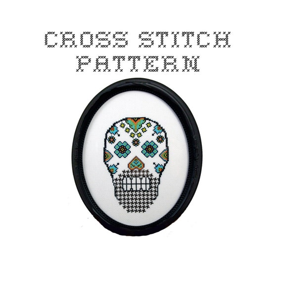 DIY Sugar Skull (version 8) - .pdf Original Cross Stitch Pattern - Instant Download