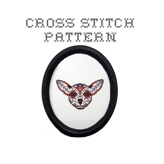 DIY Dog Sugar Skull - .pdf Original Cross Stitch Pattern - Instant Download