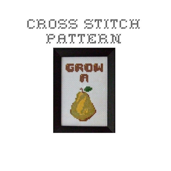 DIY Grow A Pair - .pdf Original Cross Stitch Pattern - Instant Download