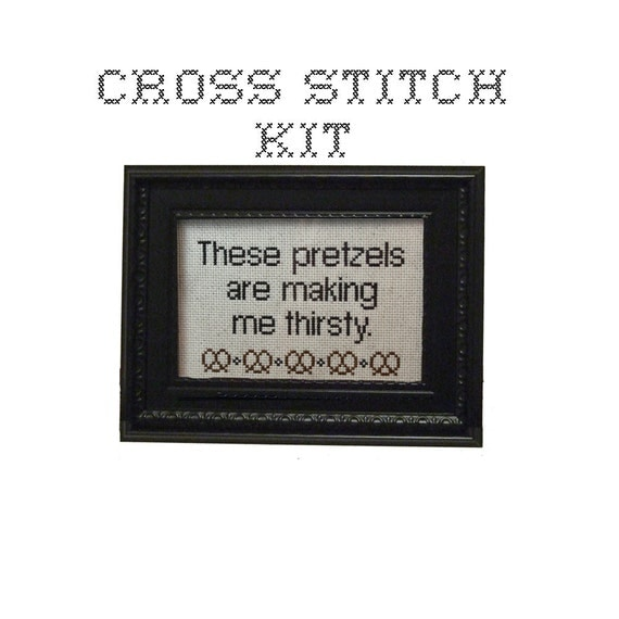 DIY - These pretzels are making me thirsty - cross stitch KIT