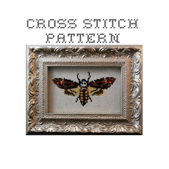 DIY  Death's Head Moth - .pdf Original Cross Stitch Pattern - Instant Download