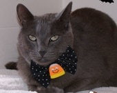 Halloween Bow Tie Happy Candy Corn  Pet Fashion NeckWear Collar Accessory - BLACK w/WHITE POLKA DOTS