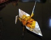 24 Double layer metallic gold and silver origami cranes
