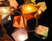 Origami patterned cube lantern strip light