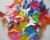 Set of 200 Origami butterflies Multi solid color