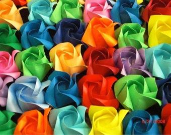 100 origami rose with stem