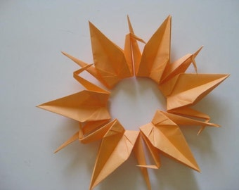 "100 Origami crane 6"" light orange color"