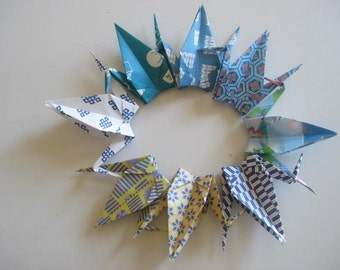Set of 1000 Origami 6 inches Cranes Multi pattern in blue color shade
