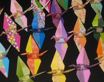 50 Two tone Origami Crane folded from  6 inches in mix pattern