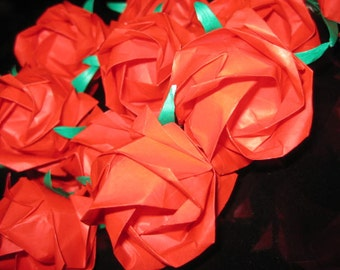 Per-order Velantine 12 Origami Long Stem Kawasaki Roses in Red