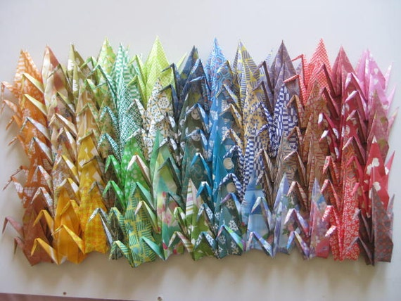 Set of 500 Origami 6 inches Cranes Multi color pattern
